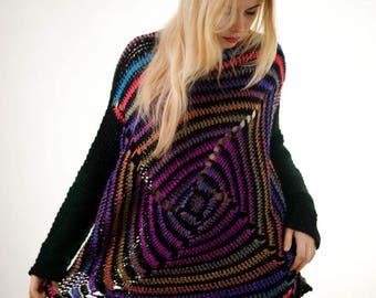 Multicolor Plus Size Sweater Circle Multicolor Oversize Sweater Full Figure Sweater Curvy Plus Size Sweater Cardigan