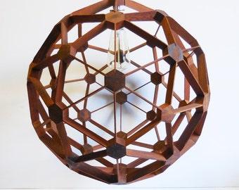 Vintage Pendant light Wood Danish Modern geometric Mid Century architectural sphere ball maze chandelier swag lamp