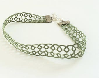 Green Lace Choker, Green Necklace, Lace Necklace, Green Jewellery, Green Choker, Lace Jewellery, Boho Fashion, Boho Jewellery, Boho Fashion