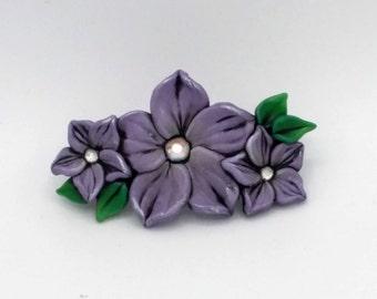 Violet Flower Barrette 3 Inches; Purple Plumeria; Floral Hair Accessory; Spring Fashion; Style No: VIF03
