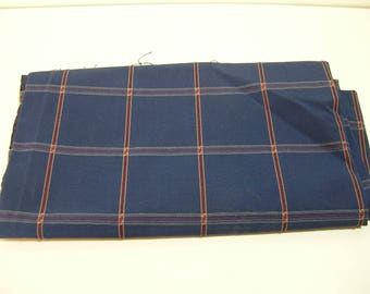 Navy Plaid Upholstery Fabric, 3/4 Yard