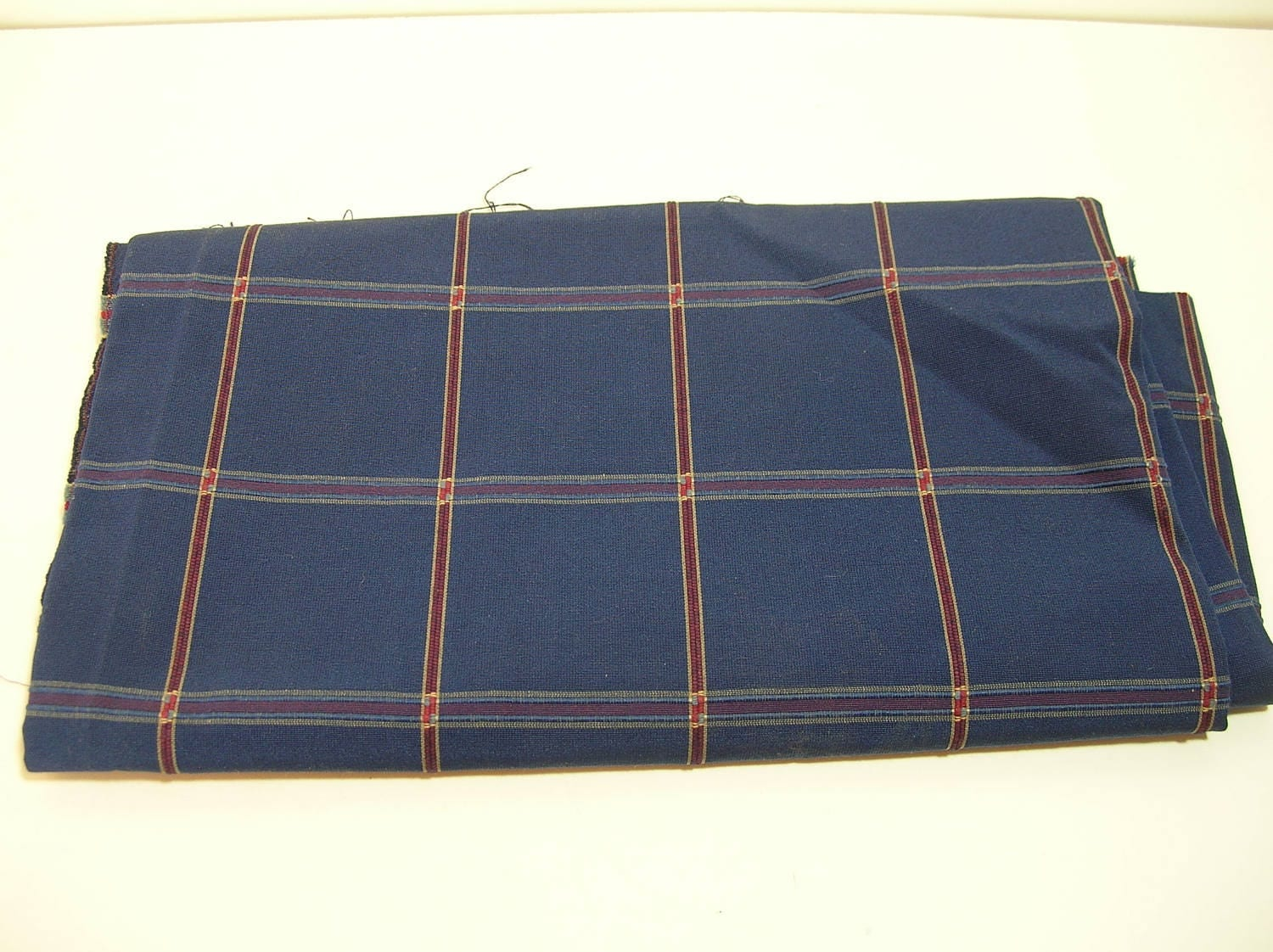 Navy Plaid Upholstery Fabric 3 4 Yard From Fabricandcrafts On Etsy