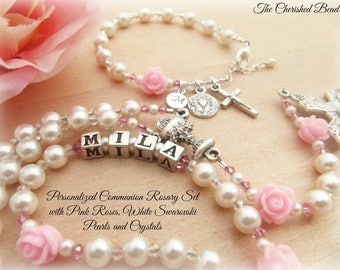 Communion Personalized Rosary Set with Pink Rose Beads, Swarovski White Pearls, Swarovski Pink and Clear Crystals - Rosary & Bracelet Set
