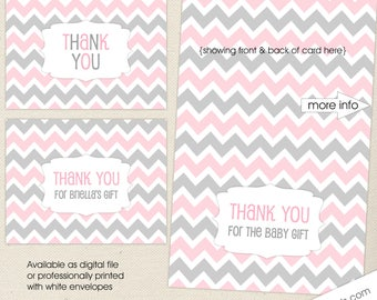 PINK Thank You Notes, digital or printed thank you cards, FREE SHIPPING, pink gray personalized note cards, new baby girl thank you note
