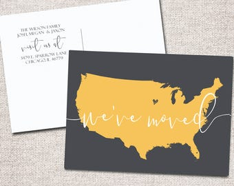 New Address card, We've moved card, Modern New Address card, Printable New Address card, We Moved, New Home card: PRINTABLE  (Map)
