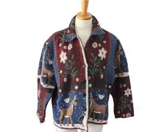 sale // Vintage 90s Christmas Reindeer Penguin Print Tapestry Jacket // Women M L, Keren Hart