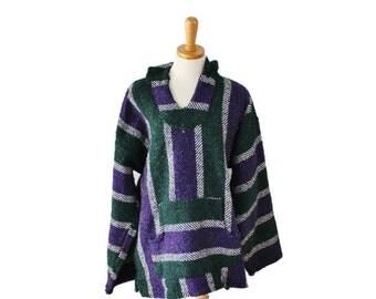 50% half off sale // Vintage Purple and Gray Poncho Hoodie - Men Women XL - 90s Stripes, Focus