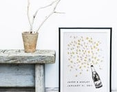 Wedding Guest Book Alternative, unique guestbook , Champagne Bottle +ink pad, fingerprint tree , custom guestbook, custom wedding, art deco