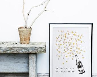 Wedding Guest Book Alternative, unique guestbook , Champagne Bottle +ink pad, fingerprint tree , custom guestbook, custom wedding, art deco