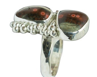 Ocean Jasper and Sterling Silver Two Stone Ring, size 8-3/4  r875pocjg2771
