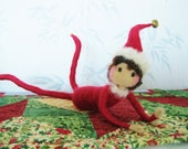 Elf on a shelf posable doll needle felted doll for children Christmas decor game