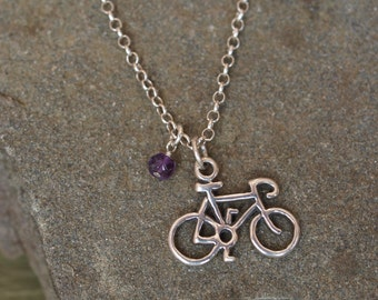 Bicycle Birthstone Necklace