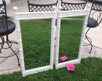 FAUX BAMBOO MIRRORS / Pair of Palm Beach Mirrors / Hollywood Regency Chippendale On Sale Palm Beach Style at Retro Daisy Girl