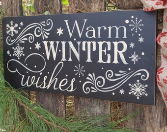Warm Winter Wishes, Holiday, Christmas, Wood Wall Sign, Subway Art,Typography,