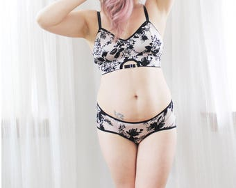 Mimi Floral Longline Bra and Hipster Panties Floral Lingerie Set Handmade by Ohh Lulu