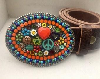 Mosaic Belt Buckle, Hippie Buckle, Beaded Belt Buckle, Western Belt Buckle, Women's Buckle, Boho Buckle, Peace Sign Buckle, Heart Buckle