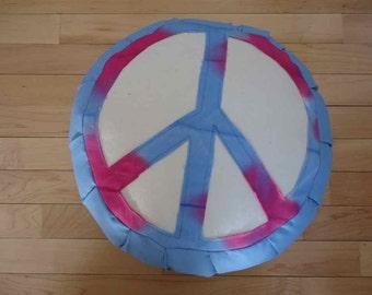 Zafu meditation cushion, Sky Blue with hand dyed peace sign design