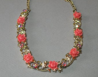 Vintage Salmon Rose Necklace