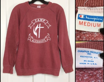 Vintage 1970s faded all cotton Champion Blue Bar Camp Aldersgate souvenir Sweatshirt size Medium rust red made in USA
