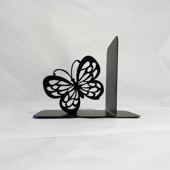 Butterfly Silhouette Single Metal Art Bookend Left Side