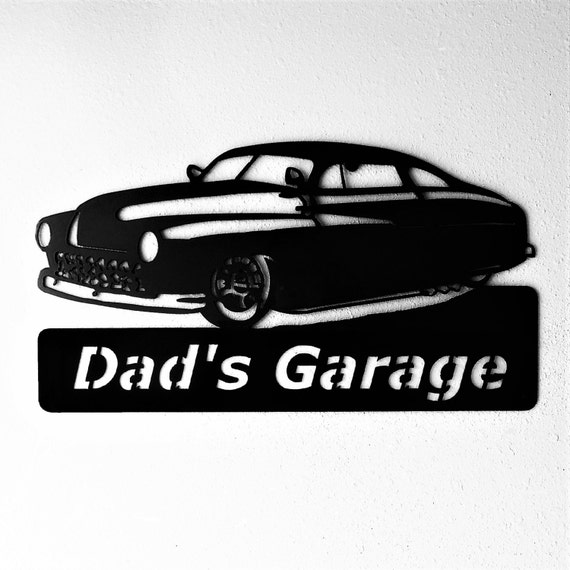 1949 Mercury Lead Sled Hot Rod Custom Personalized Man Cave Garage Sign Satin Black