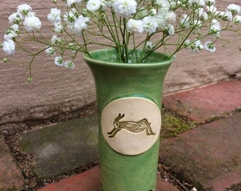 Ready to Ship: Grasshopper Bud Vase in Celadon Green