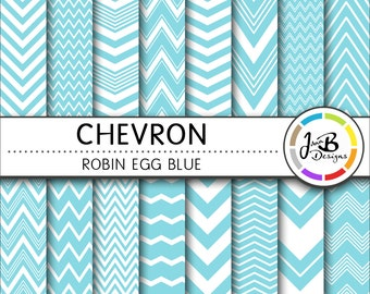 Chevron Digital Paper, Robin Egg Blue, Blue, White, Chevron, Zig Zag, Digital Paper, Digital Download, Scrapbook Paper, Digital Paper Pack