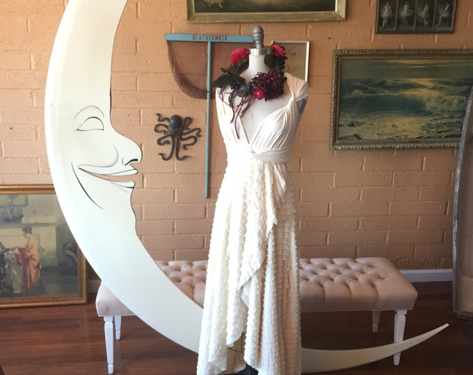 "Ready to Ship ~ 42"" Petite~Ivory Ruffle Tulip Style Octopus Wrap Dress"