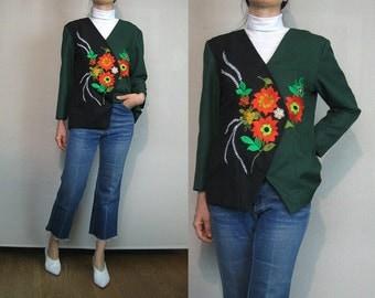 80s EMBROIDERED Floral 2 Toned Jacket Vintage 1980s Green Black Red Embroidered Jacket Floral Embroidered Blazer Asymmetrical Jacket