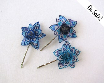 Three hand painted silk bobby pins - blue little stars - hair pins - ***Item on sale*** Previous price : 25 EUR