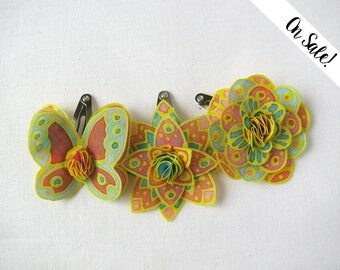 Three yellow, pink and mint hand painted silk flower hair snap pins - butterfly and 2 flowers - ***Item on sale*** Previous price : 30 EUR