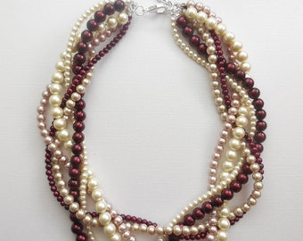 Wine bordeaux ivory mauve champagne braided twisted chunky bridesmaid bridal statement pearl necklace