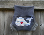 Upcycled Merino Wool Soaker Cover Diaper Cover With Added Doubler Gray With Whale Applique NEWBORN 0-3M Kidsgogreen