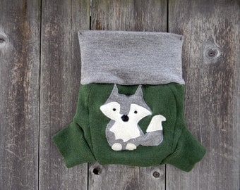 Upcycled Merino Wool Soaker Cover Diaper Cover With Added Doubler Green/ Gray With Wolf Applique SMALL 3-6M