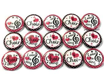 """Choir Magnets, 1"""", Button Magnet, Choir Class Magnet, Choir Party Favor, Choir, Choir Decor, Choir Theme, Choir Gift, Pink annd Black, Music"""