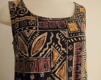 90s Ethnic Dress Tribal Print African Mud Cloth Pattern Sleeveless Sheath Dress Batik Rayon