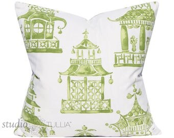Ming Pagoda Mineral - chinoiserie - 20X20 inch - decorative pillow cover - the Hamptons - mingware - ready to ship
