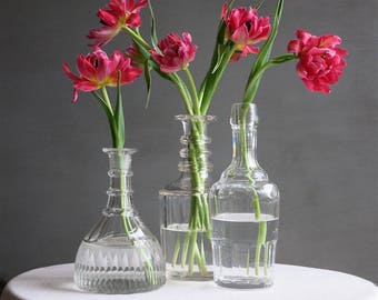 Three Antique Glass Decanters - Georgian Regency Nelson Etched Faceted circa 1800 - 1900 Barware - Bottle Vase No Stopper Instant Collection