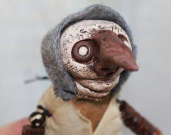 Original Art Handmade OOAK Articulated Lowbrow Hooded Plague Doctor Doll Grungy Mask Medieval Clay Fetish Free Ship USA