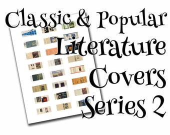 Classic/popular literature dollhouse book covers series 2 of 2, 1:12, PDF digital file, three sizes, 24 styles, 72 book covers!