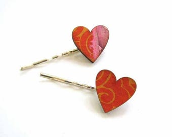 SALE heart hair clip set in corange & pink collage paper - 2 bobby pins jewelry / hair accessories