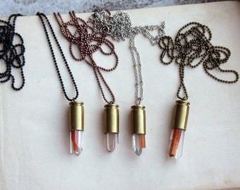 SALE red jasper bullet necklace . bullet casing necklace . jasper bullet necklace . crystal bullet necklace . red jasper jewelry . quartz cr