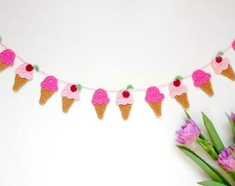 Ice cream party decor - Kids room garland - crochet ice cream cones decorations with cherries - ice cream garland - party decor ~35.5 in