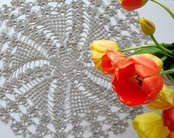Crochet linen doily - lace doily - home decor - linen tablecloth - crochet linen - crochet doily - table centerpiece ~55 cm /21.6 inches/