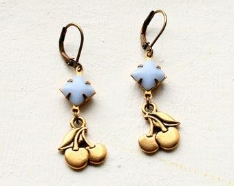 Cherry Earrings, Pink Cherry Earrings, Dangle, Cherry, Pinup Girl, Light Blue