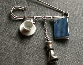 Book and Tea Brooch Chess Nerdy Kilt Pin Teacup