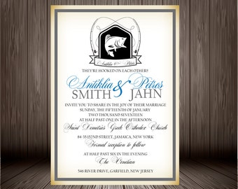 Printable Digital Fishing Themed Wedding Invitation Design with Blue, Rehearsal Dinner, Engagement Party, Couples Bridal Shower, Lake