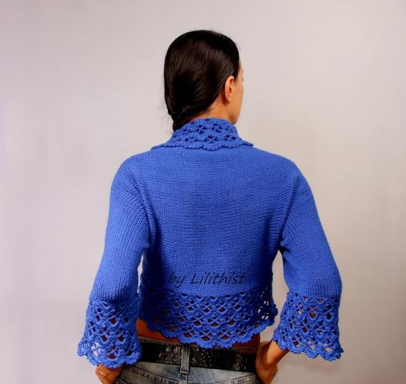 Cobalt Blue Bolero Jacket, Crochet Bolero, Lace Bolero, Crochet Shrug, Lace Shrug, Wedding Bridal Bolero, Knit Bolero, Sweater Cardigan SALE