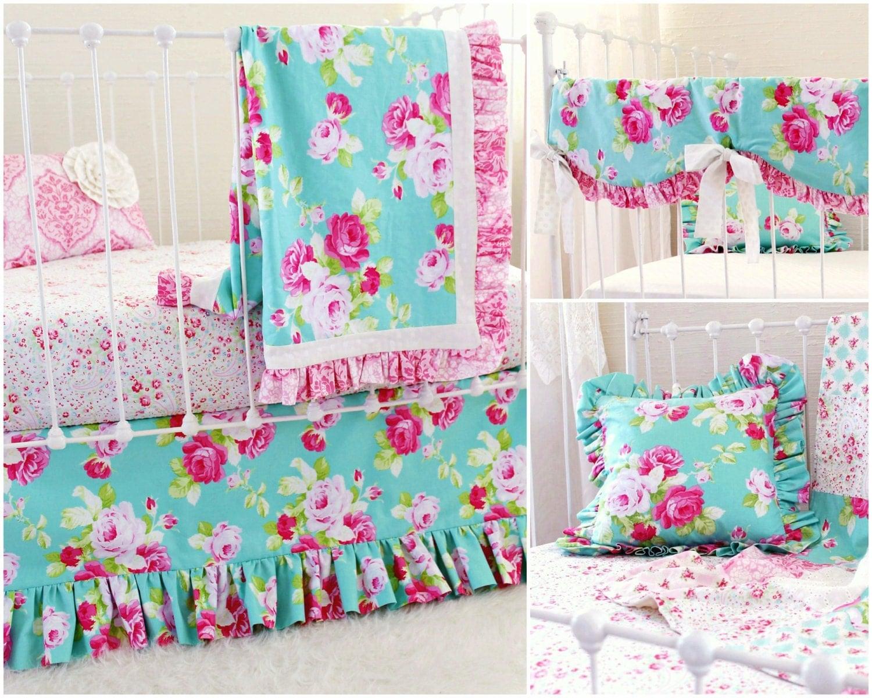 Pink And Aqua Shabby Chic Roses Crib Bedding Baby Girl