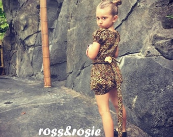 Animal Kingdom/Fuli Inspired Everyday Dress Up PlaySet, Three Piece Set, Crop Top, Bloomers, and Tie on Tail...Made to Order, size 6m-6